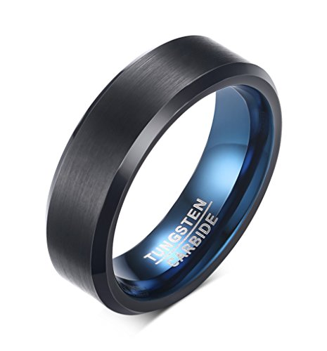 VNOX 6mm Men's Black Tungsten Carbide Band Ring Blue Inside Beveled Edges...