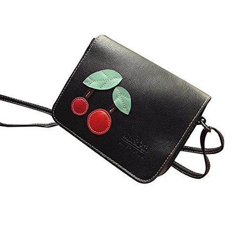 - Owill Women Fashion Handbag Shoulder Bag Ladies Mini Cherry Tote Purse (A, Black)