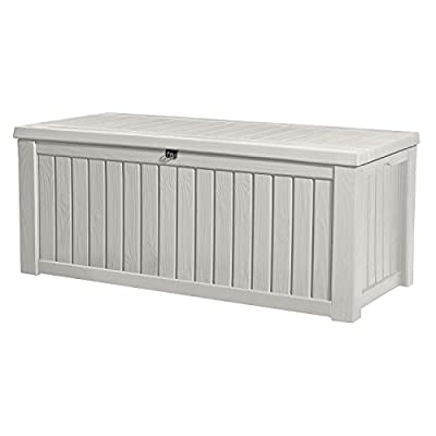 Keter Rockwood Plastic Deck Storage Container Box Outdoor Patio Garden Furniture 150 Gal, White