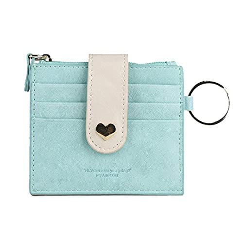 artmi womens card holder rfid card case girls wallet vibrant id card sleeve with key ring blue - Card Holder With Keyring