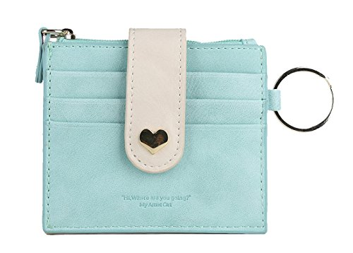 Artmi Womens Card Holder RFID Card Case Girls Wallet Vibrant ID Card Sleeve with Key Ring (Blue) ()