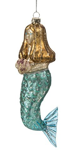 Blue Eyed Mermaid Holding Seashell Glass Christmas Holiday Ornament