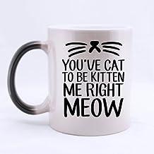 Cute YOU'VE CAT TO BE KITTEN ME RIGHT MEOW Heat Sensitive Color Changing Mug Custom Ceramic Morphing Coffee/Tea Cup Mug