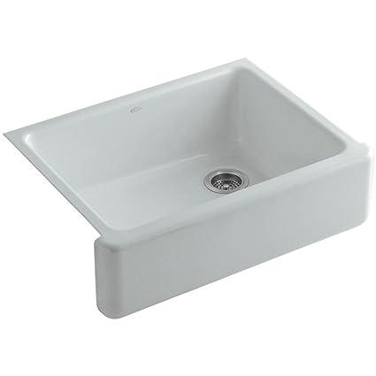 KOHLER K-6487-95 Whitehaven Farmhouse Self-Trimming Apron Front Single  Basin Kitchen Sink with Tall Apron, Ice Grey