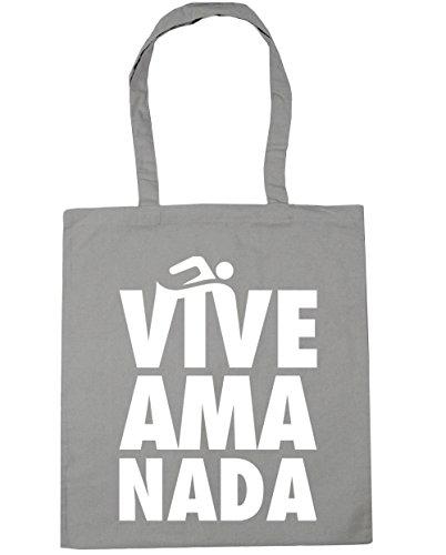 HippoWarehouse Vive Ama Nada (Live Love Swim) Bolso de Playa Bolsa Compra Con Asas para gimnasio 42cm x 38cm 10 litros capacidad Gris Claro