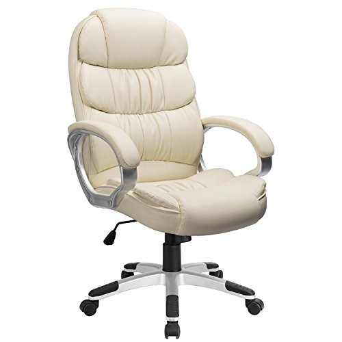 Furmax High Back Office Chair PU Leather Executive Desk chair with Padded Armrests,Adjustable Ergonomic Swivel Task Chair with Lumbar Support(White)