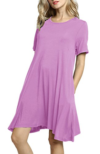 Women's Pockets Casual Sleeve Short Lavender T Swing Dress Loose Dresses Shirt Afibi 7wZqd7