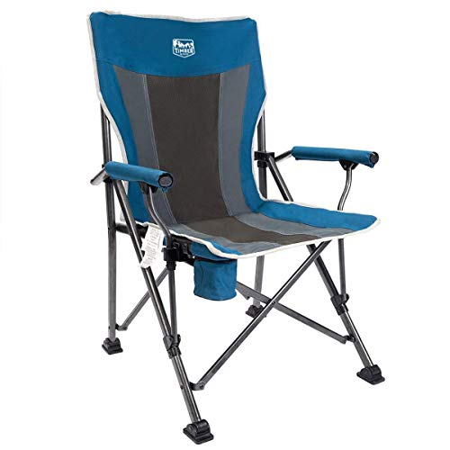 Timber Ridge Camping Chair Ergonomic High Back Support 300lbs with Carry Bag Folding Quad Chair Outdoor Heavy Duty, Padded Armrest, Cup Holder (Renewed) (Timber Ridge High Back Chair With Cup Holder)