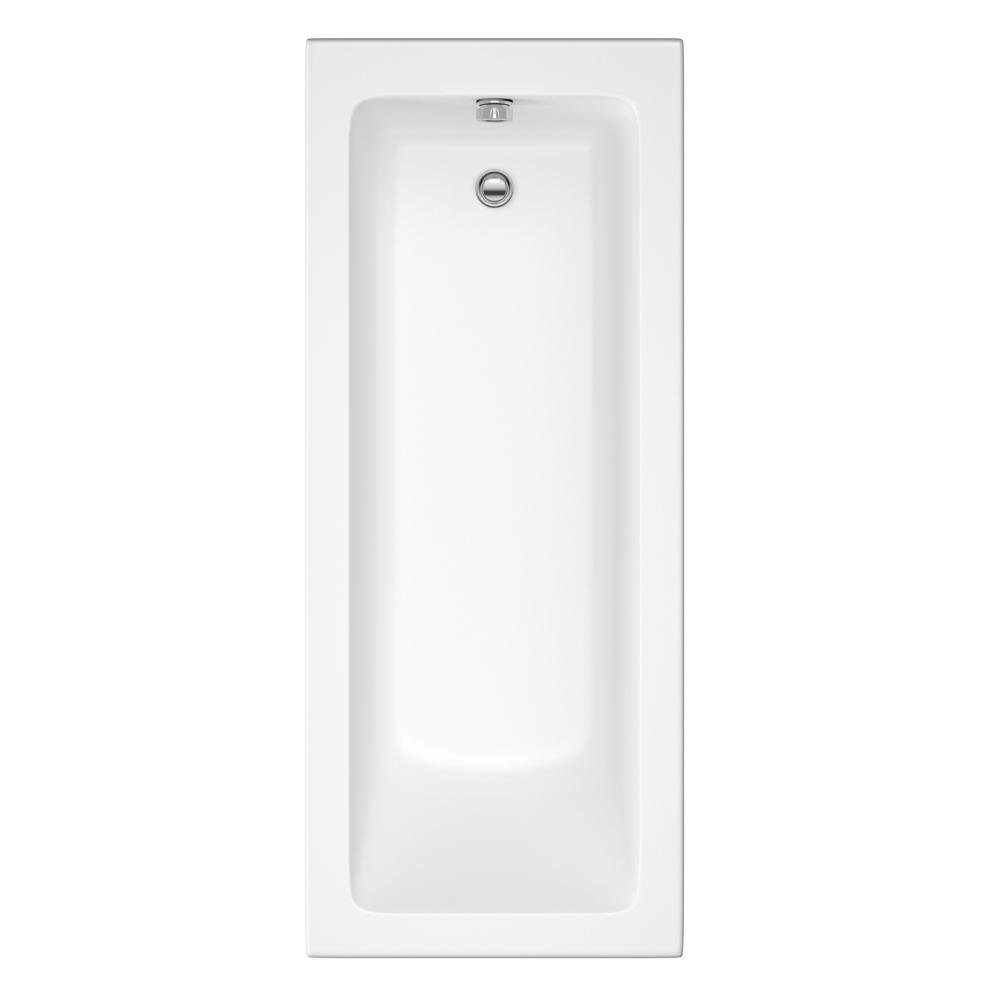 1600 mm Round Single Ended Bath Modern Straight White Bathtub with Handles iBathUK