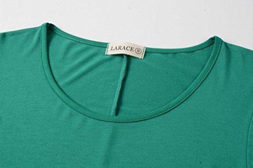 LARACE Women 3/4 Sleeve Tunic Top Loose Fit Flare T-Shirt(3X, Deep Green) by LARACE (Image #4)