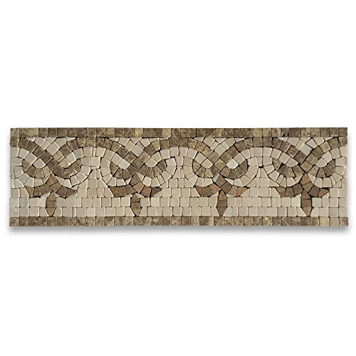 (Palm Emperador 4x13.8 Marble Mosaic Border Listello Tile Tumbled)