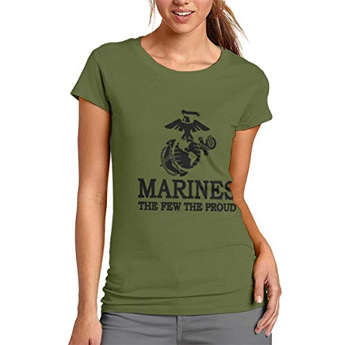 (USMC The Few The Proud Marines Corps Shirt Women's Short Sleeve T-Shirt Tee Funny Top Army Green)