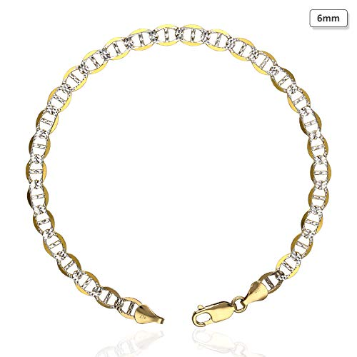 10K Yellow Gold Diamond Cut Pave 5mm-6mm Anchor Mariner Link Anklet Bracelet 10