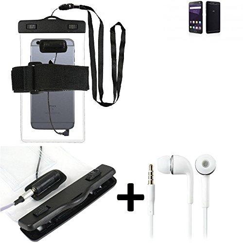 Estuche estanco al agua con entrada de auriculares para ZTE Blade V8 64 GB + auricular incluido, transparente | Trotar bolsa de playa al aire libre caja brazalete del teléfono caso de cáscara bajo pla