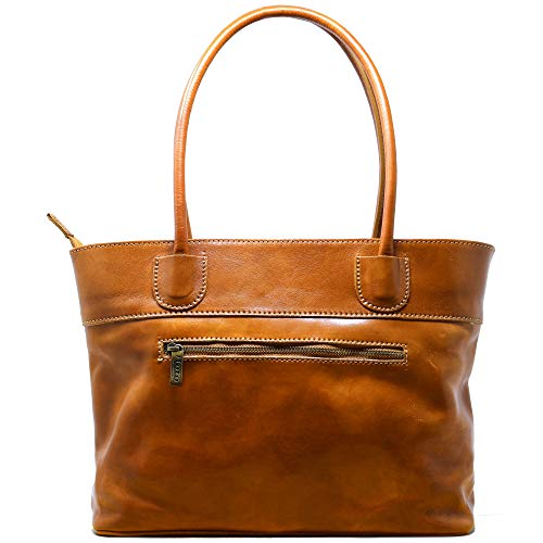 Floto Napoli Italian Leather Women's Shoulder Bag Handbag Purse (Olive Honey Brown) Brown Italian Leather Handbag