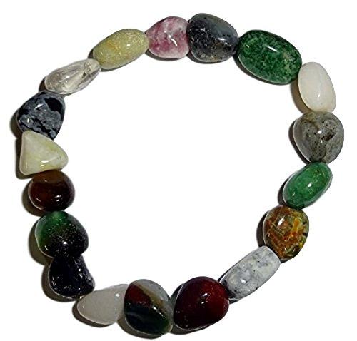 (1pc Mixed Stone Chakra Style #3 Premium Quality Tumbled Crystal Healing Gemstone Beaded Stretch Bracelet)