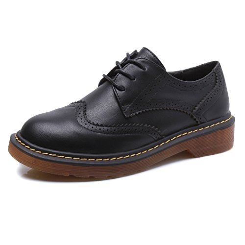 Lace Up Wingtip (Meeshine Womens Brogue Oxfords Leather Low Flat Heel Lace Up Wingtip Vintage Dress Shoes Black 8 US)