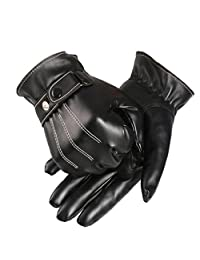Yoyorule Mens Luxurious PU Leather Winter Super Driving Warm Gloves Cashmere