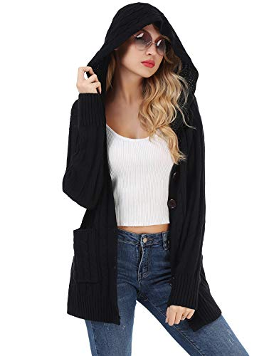 FISOUL Women Hooded Button Long Sleeve Pockets Cable Knit Chunky Cardigan Sweater Size (Knitted Hooded Cardigan)
