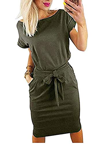 - PALINDA Women's Striped Elegant Short Sleeve Wear to Work Casual Pencil Dress with Belt (S, Army Green1)