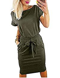Women's Striped Elegant Short Sleeve Wear to Work Casual Pencil Dress with Belt