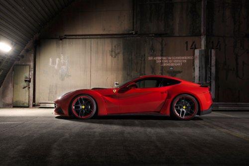 """Novitec N-Largo based on Ferrari F12berlinetta (2013) Car Art Poster Print on 10 mil Archival Satin Paper Red Side Static View 36""""x24"""""""