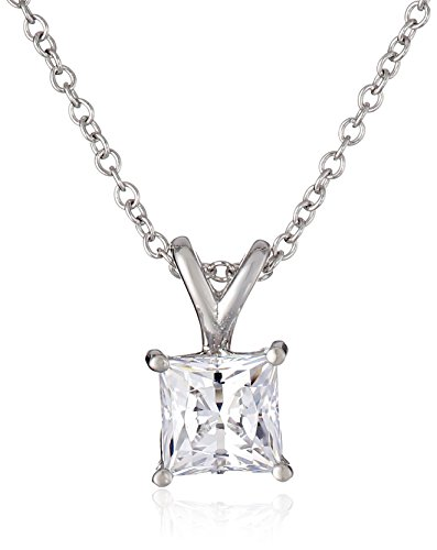 Platinum-Plated Sterling Silver Swarovski Zirconia 1 ct Princess Solitaire Pendant (Classic Cubic Zirconia Pendant)