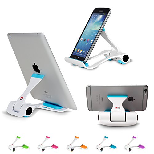 SIME-ON: Phone and Tablet Stand, Desk Holder Compatible with iPhone, iPad (Mini), Samsung Devices, Universal, Portable, Adjustable Multi-Angle - Blue