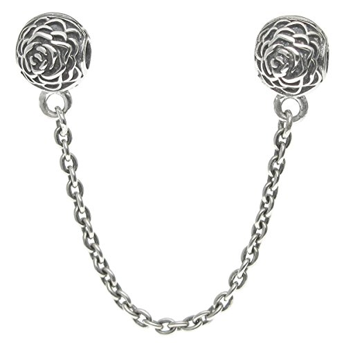 925 Sterling Silver Round Rose Stopper Clip Lock Safety Chain For European Charm Bracelets (Blossom Rose Round)