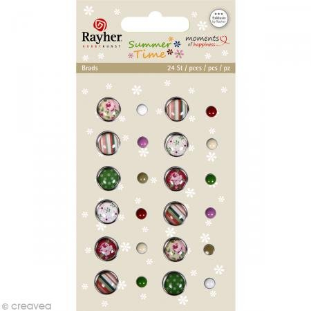 Rayher Epoxy Roses Brads, Multi-Colour, 24-Piece