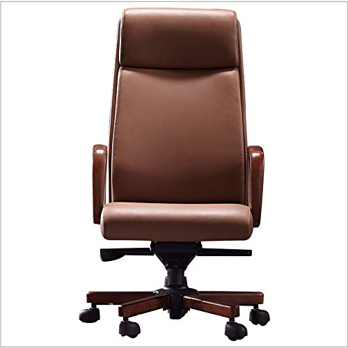 HDZWW Video Game Chairs Desk Chair,High-Back Executive Swivel Top Layer Cowhide Solid Wood Luxury Style Adjustable President Office Desk Chair,Brown