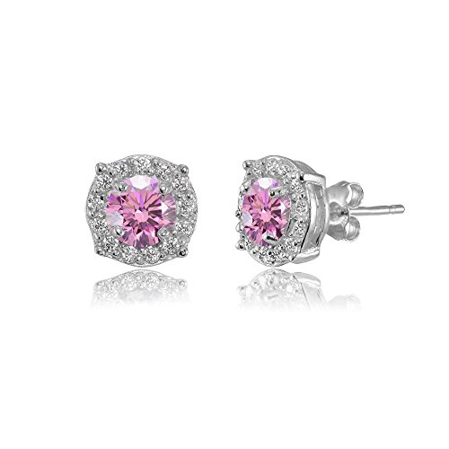 Sterling Silver 5mm Round Light Rose Halo Stud Earrings created with Swarovski Crystals