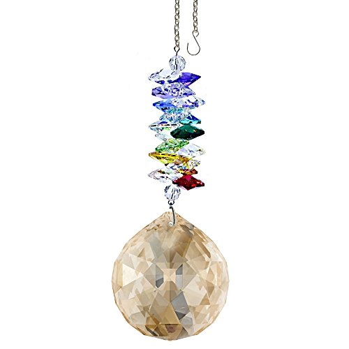 Hanging Cascade - Crystal Ornament 4.5 inch Suncatcher Golden Shadow Faceted Ball Prism Rainbow Maker Crystal Cascade Made with Swarovski crystals by CrystalPlace