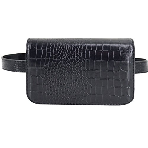 Crocodile Leather Goods - Amily PU Leather Fanny Pack Waist Bag Rhombus Pattern Plaid Quilted Fanny Pack Bum Bag (Crocodile Black)