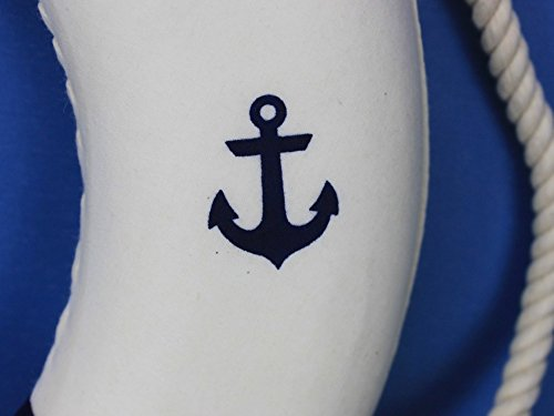 Classic White Decorative Anchor Lifering with Blue Bands 15'' - Anchor Life Ring by Handcrafted Model Ships (Image #3)