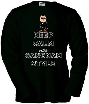 Mx Games Camiseta Gangnam Style -Keep-Calm- Negra Manga Larga (Talla: Talla-S): Amazon.es: Juguetes y juegos