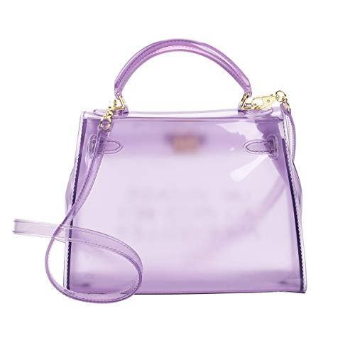 (Poxas Top-handle PVC Womens Shoulder Bags Jelly Candy Color Ladies Handbags Crossbody Bag (Large, Purple))