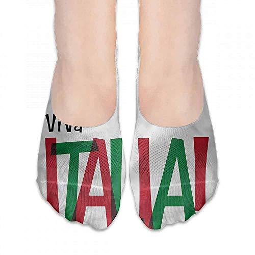Wings Italia (1 Pair Women Short Socks Italian Flag,Viva Italia Quote,socks with grips for women and wings)