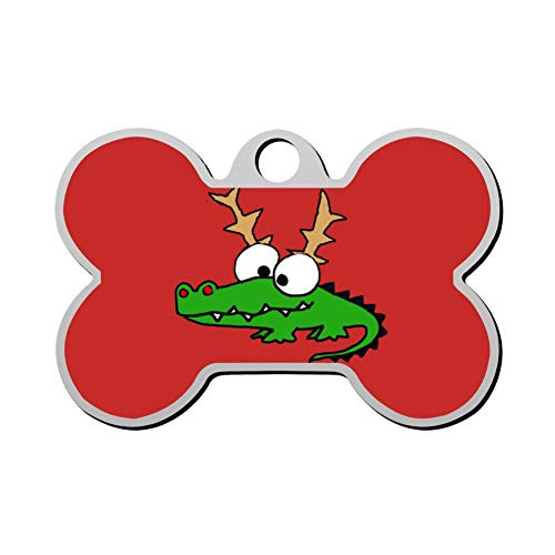 Pet ID Tag Funny Alligator with Reindeer Antlers Christmas Personalized Bone Shaped Dog Tags & Cat Tags Identity with Double Sided Printed - DIY Custom]()