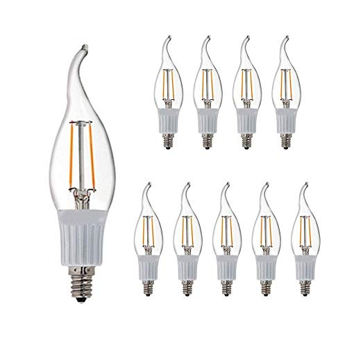 LED CA10 E12 Candelabra Style Dimmable LED Filament Chandelier Light Candle Bulb 3W, 25W Equivalent 2800K Warm White 10 Pack