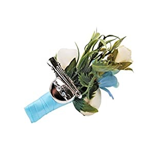Abbie Home Wedding Wrist Corsage Brooch Boutonniere Set Party Prom Hand Flower Decor (8003-WB) 5