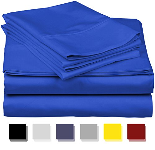 Pads Egyptian Cotton Mattress Sateen (True Luxury 1000-Thread-Count 100% Egyptian Cotton Bed Sheets, 4-Pc King Royal Egyptian Blue Sheet Set, Single Ply Long-Staple Yarns, Sateen Weave, Fits Mattress Upto 18'' Deep Pocket)