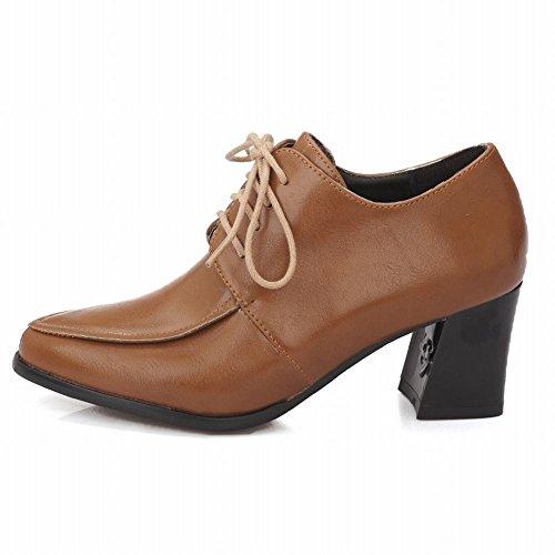 Mee Shoes Damen modern bequem populär spitz dicker Absatz Blockabsatz Schnürhalbschuhe Braun