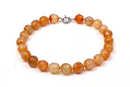 - JYX 17mm Yellow Round Faceted Agate Necklace for Women