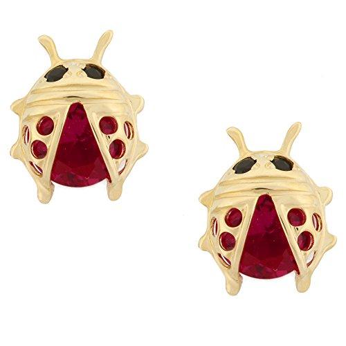14K Yellow Gold Lady Bug Stud Kids Earrings With Safety Screw Backs (Big) 14k Yellow Gold Ladybug