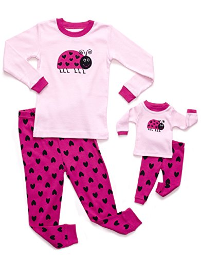 Leveret Ladybug Matching Doll & Girl 2 Piece Pajama Set 100% Cotton (8 Years)
