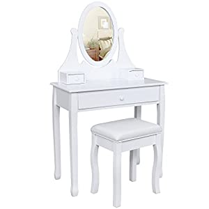 small white vanity table. Songmics white Dressing Table Set 137 x 80 40 cm with adjustable mirror  and stool RDT002