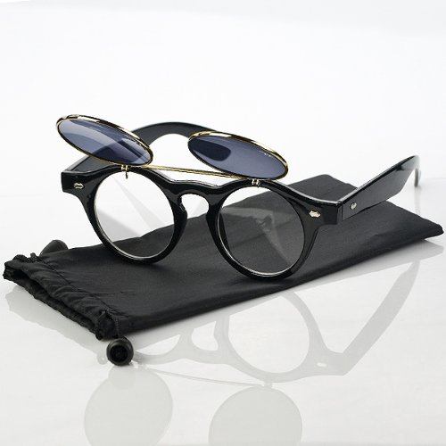 7bae7c867c 1 Pair Retro Steampunk Style Smart Dress Shopping Round Glass Flip Up Clear  Lens Golden Frame Blue Sunglasses Glasses Eyewear Lens - Buy Online in Oman.