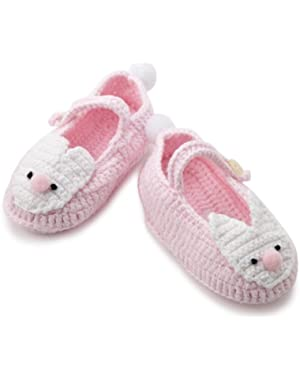 Baby-girls Newborn Pink Crochet Bunny Booties