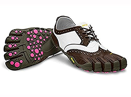 Vibram Fivefingers Mujeres V-classic Lr Zapatos Descalzos Brown / White / Purple 37 Y Premium Toesock Bundle